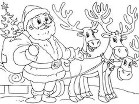 Santa And Reindeer Coloring Pages 20