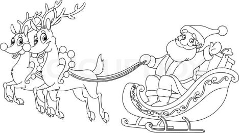 Santa And Reindeer Coloring Pages 21