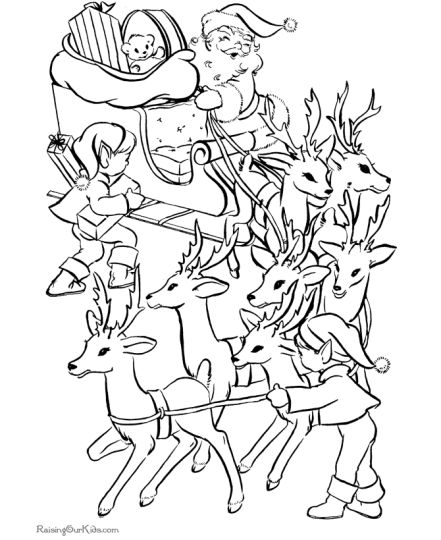 Santa And Reindeer Coloring Pages 22