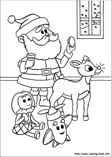 Santa And Reindeer Coloring Pages 23