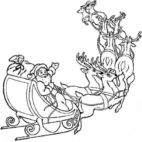Santa And Reindeer Coloring Pages 24