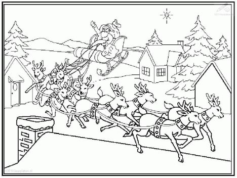 Santa And Reindeer Coloring Pages 25