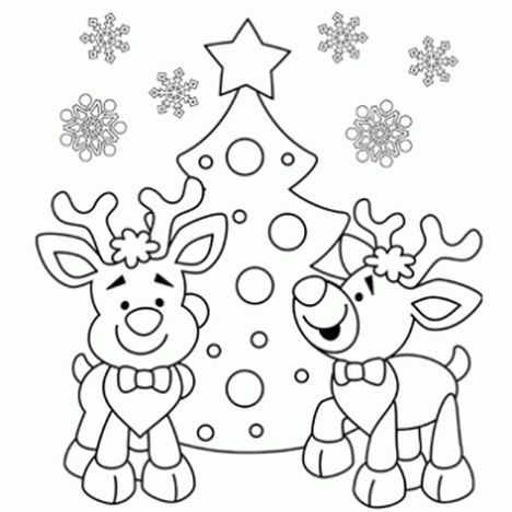 Santa And Reindeer Coloring Pages 26