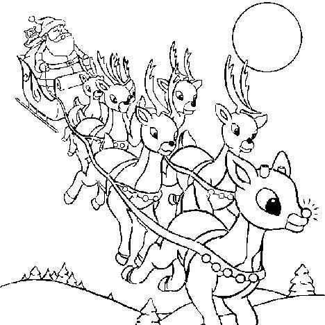 Santa And Reindeer Coloring Pages 29