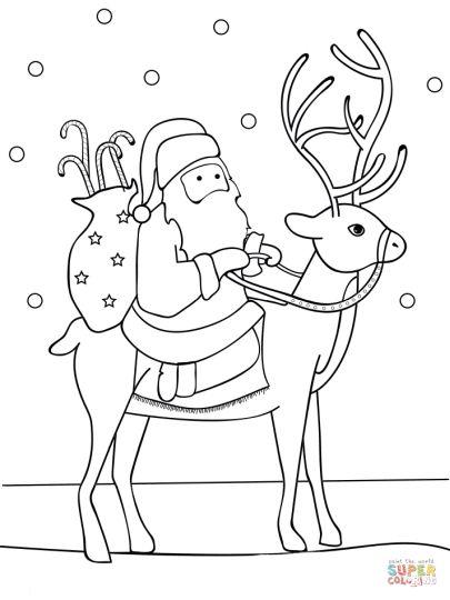 santa and his reindeers coloring pages | Santa And Reindeer Coloring Pages - Part 1