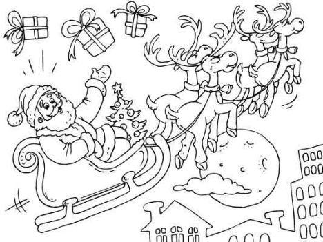 Santa And Reindeer Coloring Pages 31