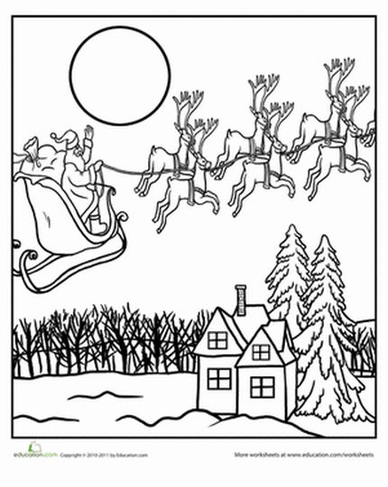 Santa And Reindeer Coloring Pages 37