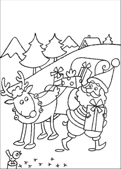 Santa And Reindeer Coloring Pages 38