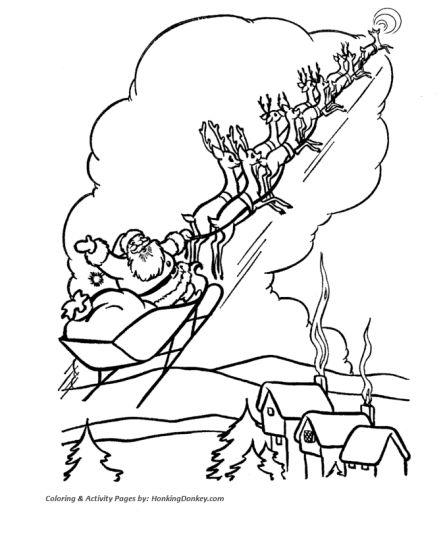 Santa And Reindeer Coloring Pages 43