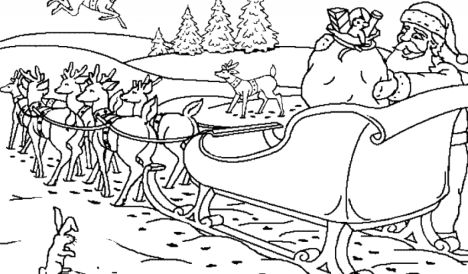 Santa And Reindeer Coloring Pages - Part 5