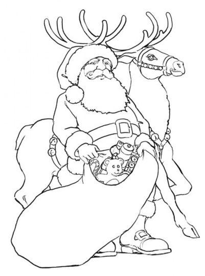Santa And Reindeer Coloring Pages 48