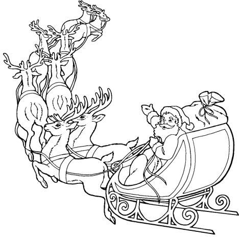 Santa And Reindeer Coloring Pages 49