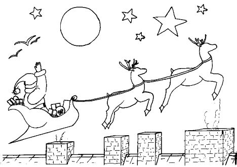 Santa And Reindeer Coloring Pages 5