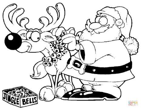 Santa And Reindeer Coloring Pages 50