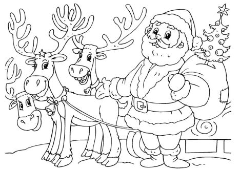 Santa And Reindeer Coloring Pages - Part 1