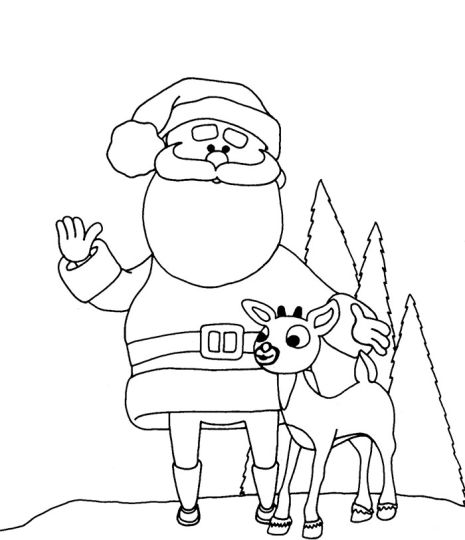 Santa And Reindeer Coloring Pages 7