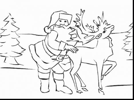 Santa And Reindeer Coloring Pages 8