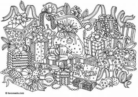 christmas doodle coloring pages 1