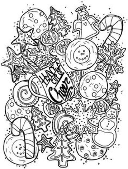 Christmas Doodle Coloring Pages 15