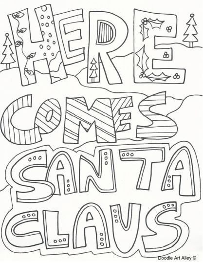 Christmas Doodle Coloring Pages 2