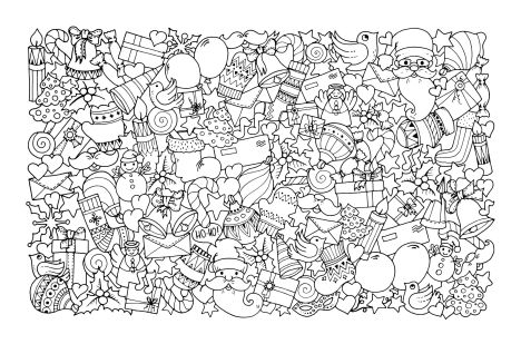 Christmas Doodle Coloring Pages 38