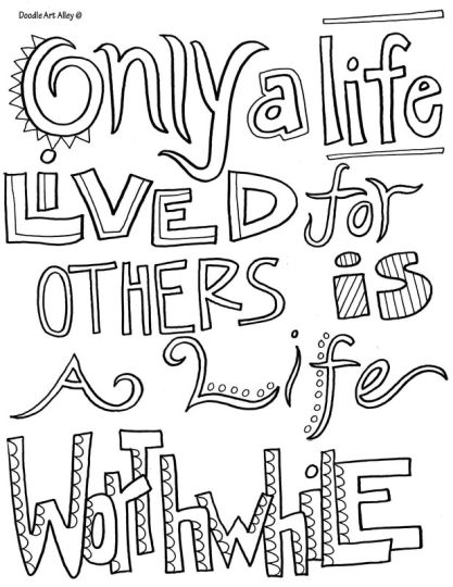 Doodle Coloring Pages Quotes 2