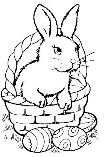 Easter Bunny With Eggs Coloring Page 1