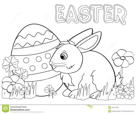 Easter Bunny With Eggs Coloring Page 12
