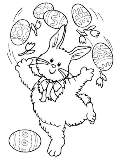 Easter Bunny With Eggs Coloring Page 15