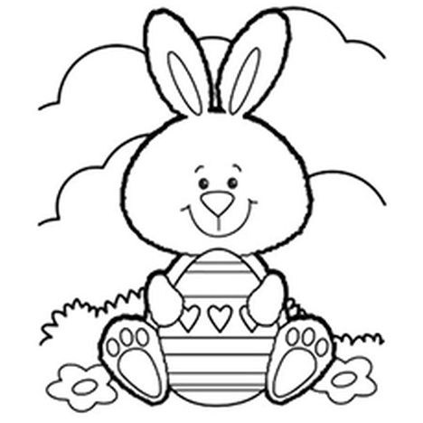 easter bunny coloring in pages | Easter Bunny With Eggs Coloring Page - Part 4