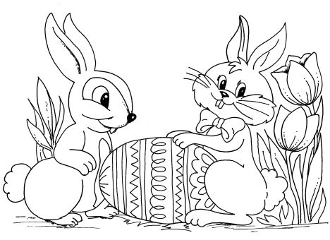 Easter Bunny With Eggs Coloring Page 4