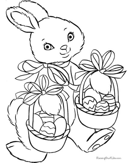 Easter Bunny With Eggs Coloring Page 41