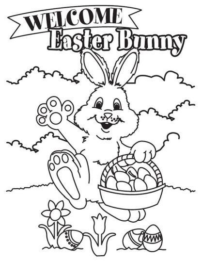 Easter Bunny With Eggs Coloring Page 42