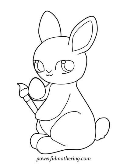 Easter Bunny With Eggs Coloring Page 44