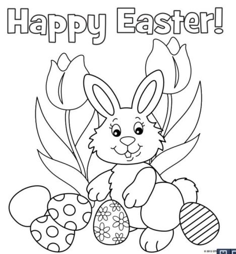 Easter Bunny With Eggs Coloring Page 45