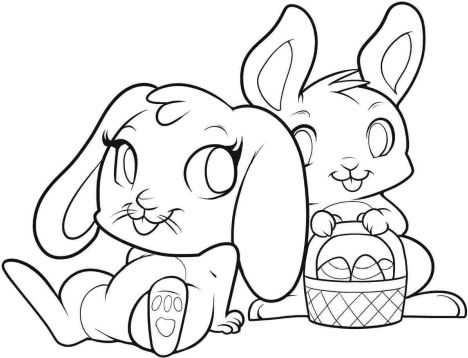 Easter Bunny With Eggs Coloring Page 48