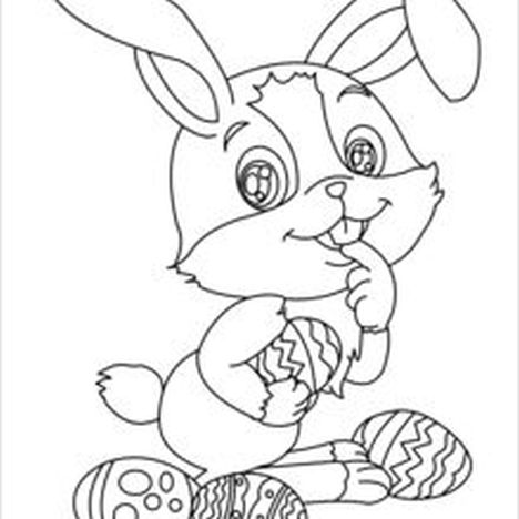 Easter Bunny With Eggs Coloring Page 5