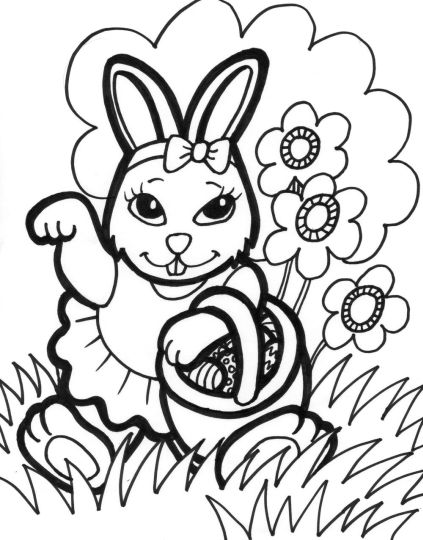 Easter Bunny With Eggs Coloring Page 50