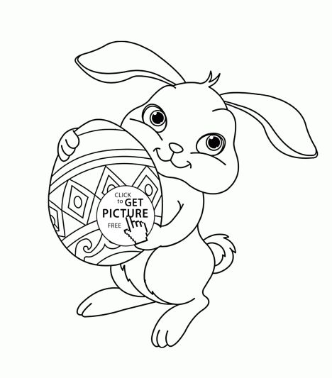 Easter Bunny With Eggs Coloring Page 6