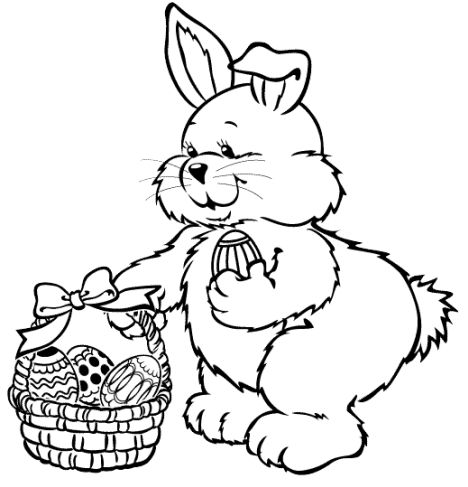 Easter Bunny With Eggs Coloring Page 7