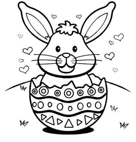 Easter Bunny With Eggs Coloring Page 9