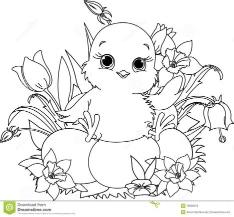 Easter Chick Coloring Pages 4