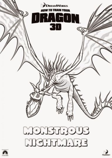 How To Train Your Dragon Coloring Pages Monstrous Nightmare 1