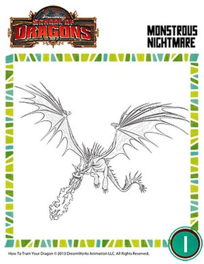 How To Train Your Dragon Coloring Pages Monstrous Nightmare 16