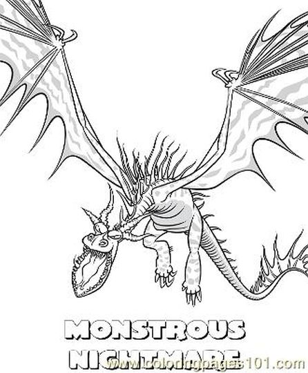 How To Train Your Dragon Coloring Pages Monstrous Nightmare 49