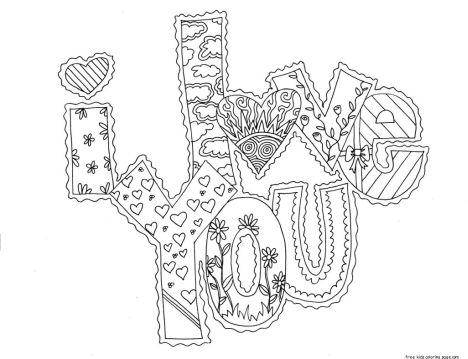 I Love You Coloring Pages For Teenagers Printable 34