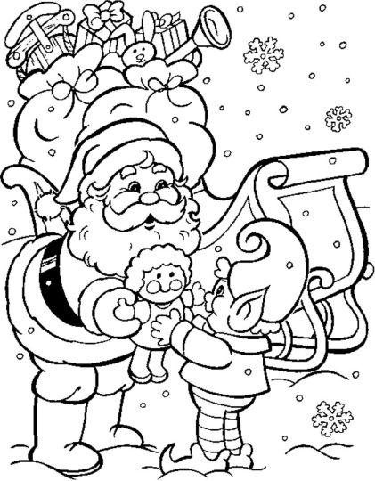 Santa Colouring Pages 18