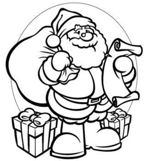 Santa Colouring Pages 2