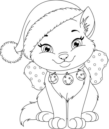 Christmas Cat Coloring Pages 12