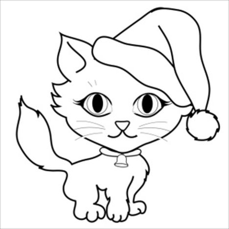 Christmas Cat Coloring Pages Part 2